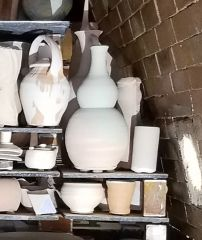 Bottle Form In Kiln Before Firing
