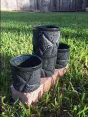 4 coral whiskey glasses altered and textured in cassius basaltic