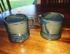 Pair of cassius basaltic mugs in blue rutile
