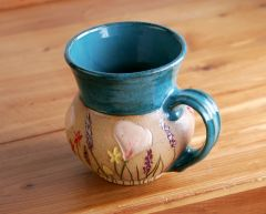 California Wildflowers potbelly mug in teal