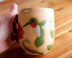 Red Rose and Hummingbird mug