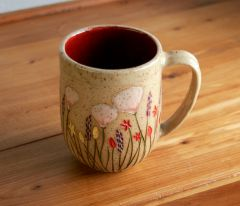 California Wildflowers b i g mug in red