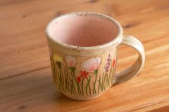 California Wildflowers mug in peach