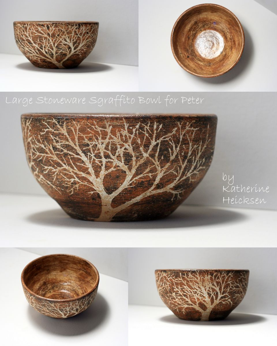 Sgraffito Tree Bowl - Layered Clay
