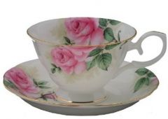 flower cup&saucer with gold trim