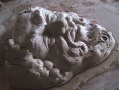Bacchus corbel, model in progress