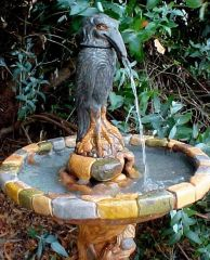 bird fountain detail, spitter and basin