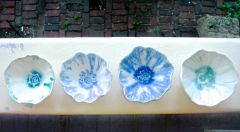 blue white pinch pot flower bowls