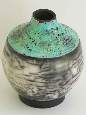 Naked raku vase with turquoise glaze top