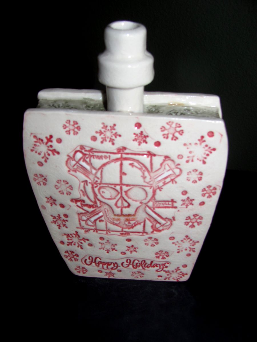 Holiday ceramic flask