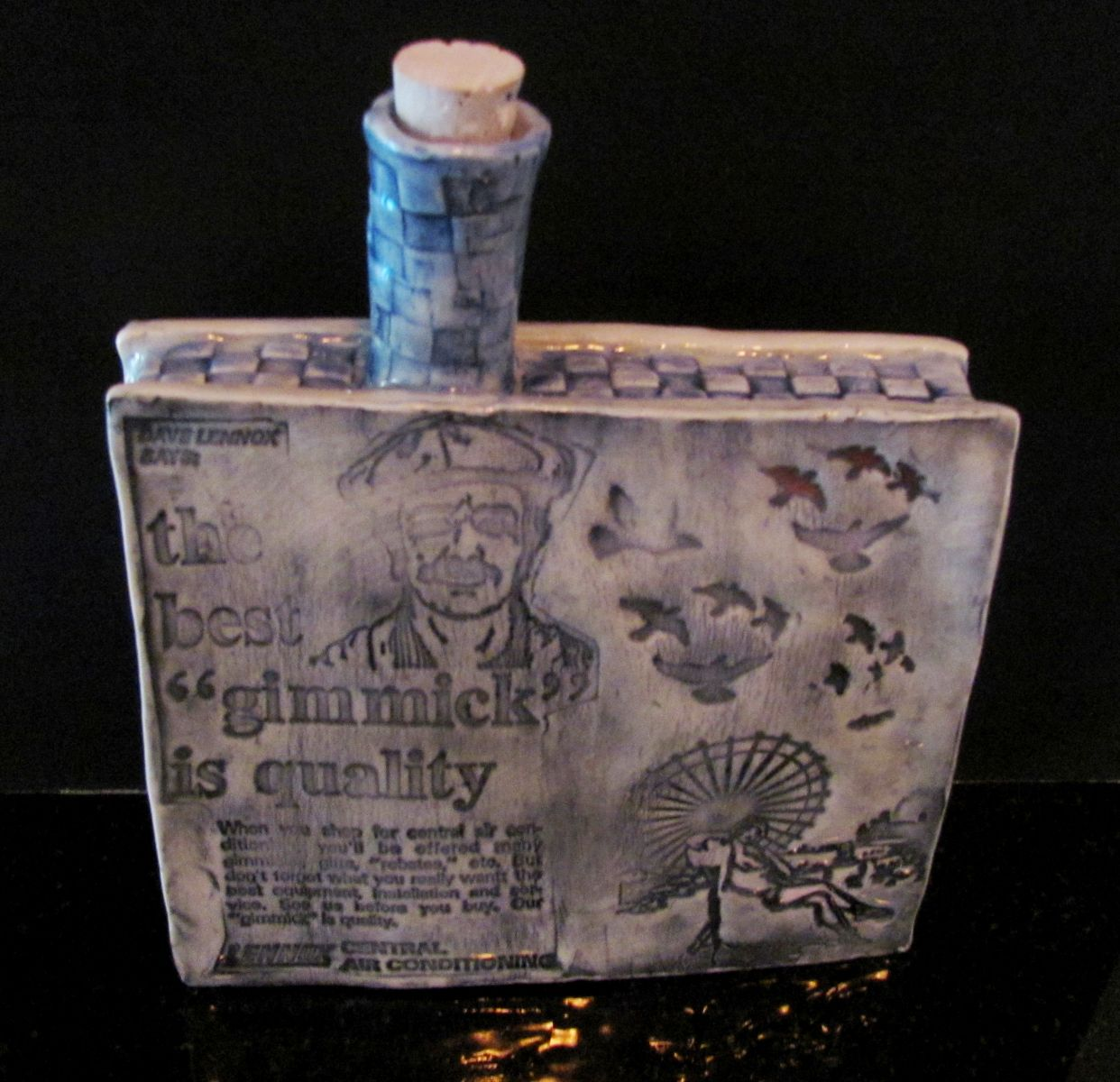 old lennox ad ceramic flask