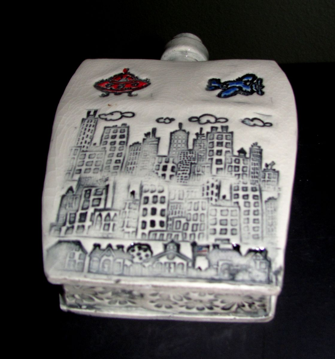 city skyline ceramic flask