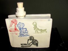 handmade ceramic flask skeleton