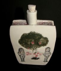 adam & Eve ceramic flask