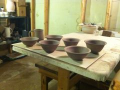 Bowls and mug all trimmed and handle added