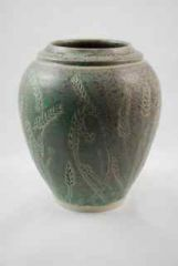 Porcelain Carved Wheat Vase