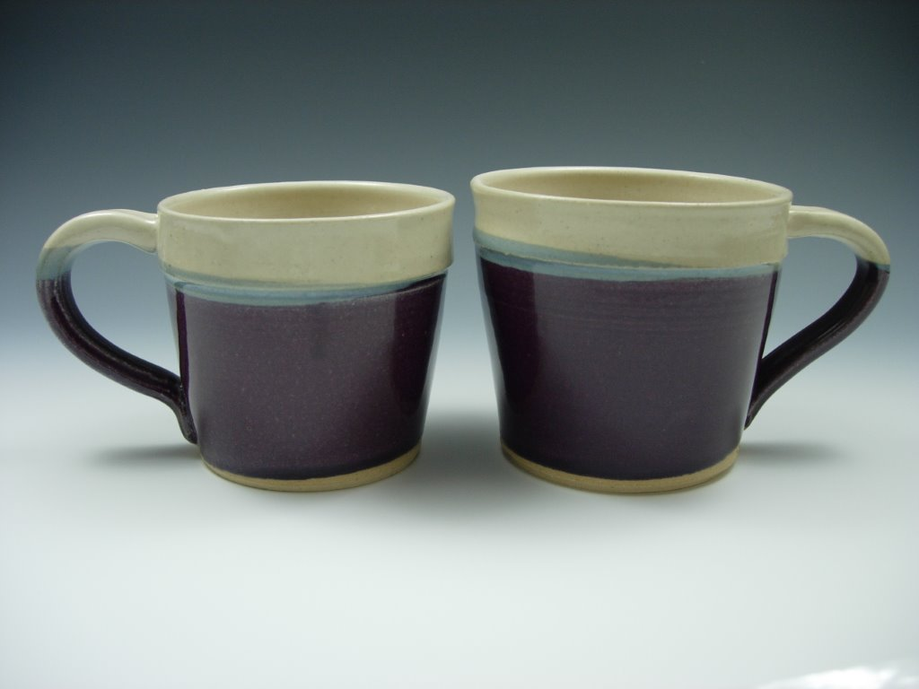 Purple and White Mugs