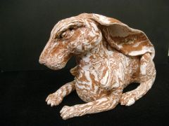 Terracotta and porcelain rabbit