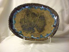 Slab built leaf impression platter