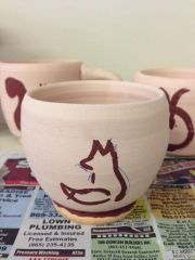 3 Wax resist mugs unfired
