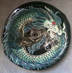 Sgraffito Eastern Dragon Bowl