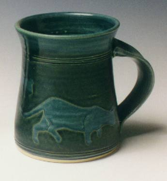 green-blue cat mug