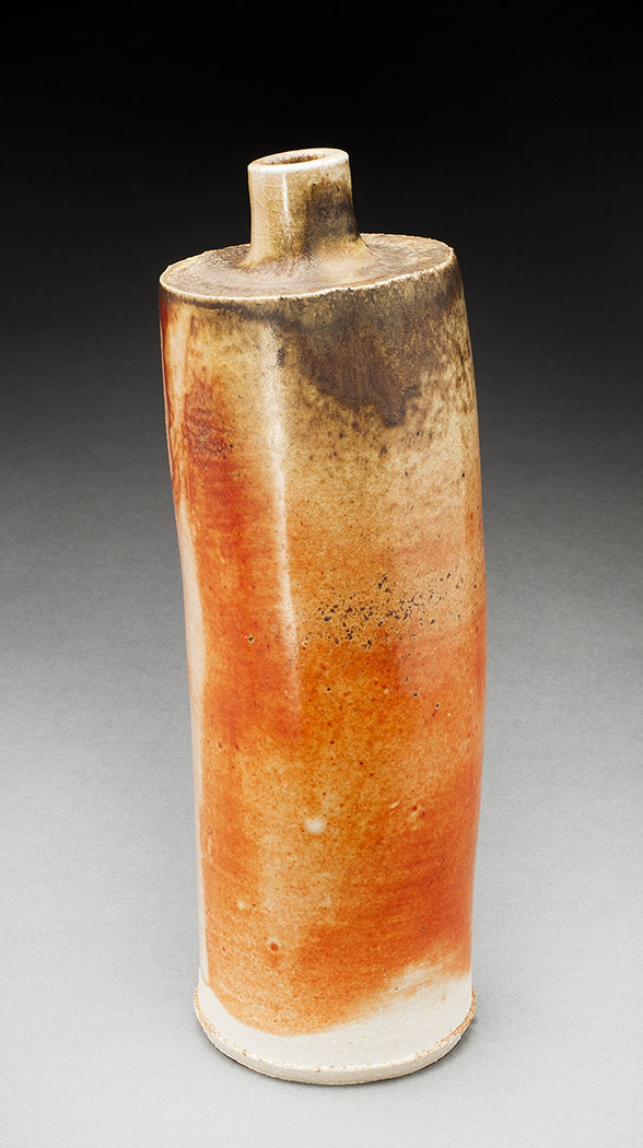 tall bottle with shino glaze