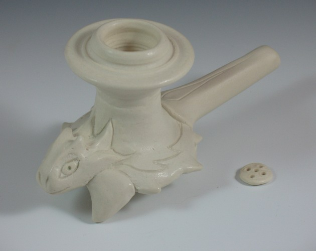 Horny toad polished porcelain effigy pipe