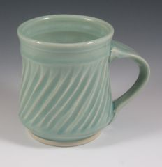 Celadon mug with fluting