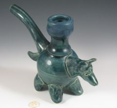 Blue coyote effigy pipe