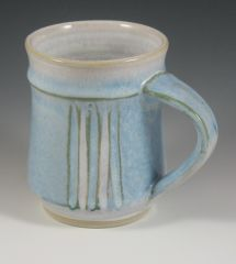 fluted mug with blue and red slip