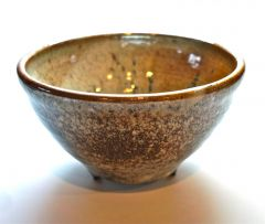 Footed bowl with shino and wood ash