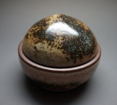 "Lidded Round Shino ""box"" with wood ash"