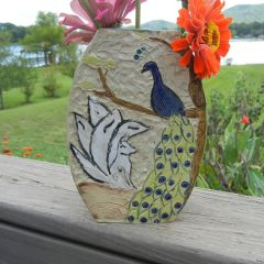 kitsune and peacock vase