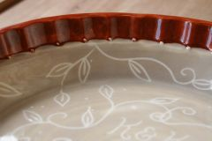 Custom Wedding Pie Plate, interior with date and initials, detail