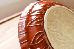 Custom Wedding Pie Plate, bottom detail, exterior with slip trailed leaves