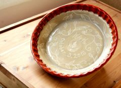 Custom Wedding Pie Plate, interior with date and initials