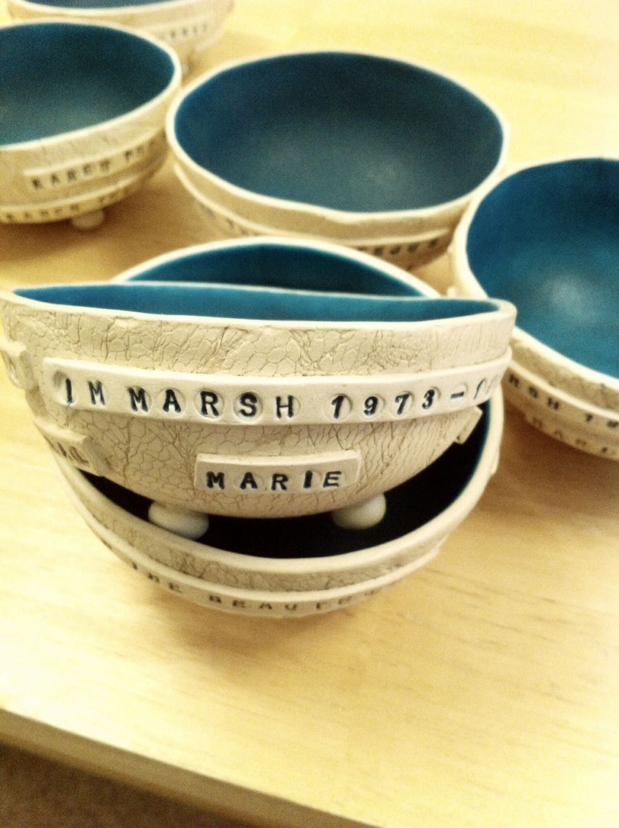 Set of 7 commemorative bowls