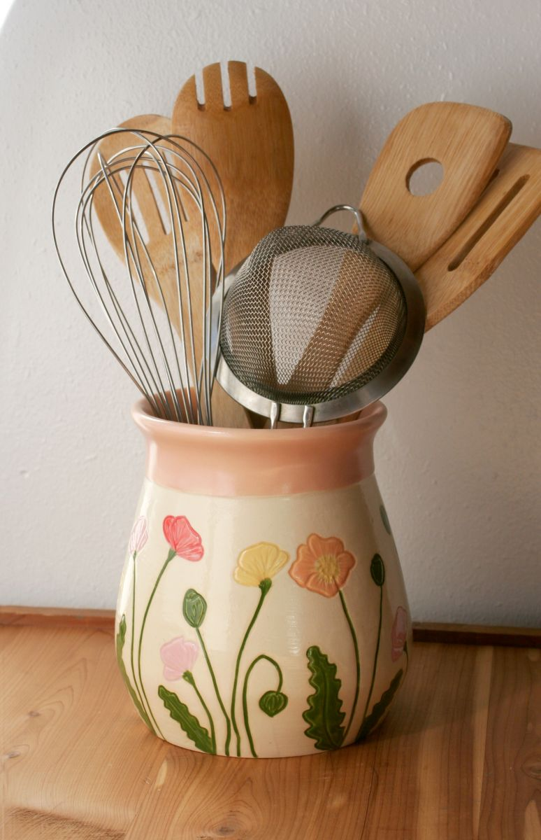 Icelandic Poppies Utensil Holder/Large Vase