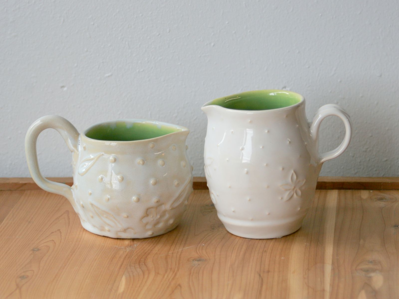 Cream Pitchers, Side By Side Comparison, Six Months' Progress