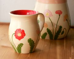 Icelandic Poppies Mug, Red