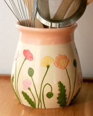 Icelandic Poppies Utensil Holder, Peach