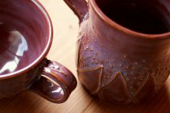 Closeup of slip trailing on Coffee and Tea Set