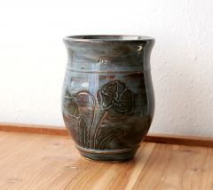 Carved poppy tumbler in Slate Blue, Side B