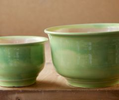 Green and peach nesting bowls