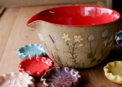 Wildflower Batter Bowl and Flower Teaspoon Rests