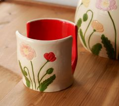 Wild Poppies Sponge Holder in Red