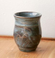 Carved poppy tumbler in Slate Blue, Side A