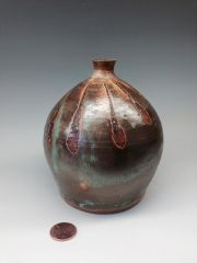 Wax resist iron oxide mini vase