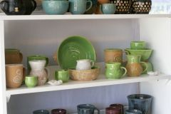 Green/white/tan shelf
